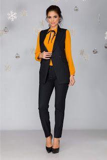 Compleu Irra negru cu pantaloni Peplum, Costume, Fashion, Moda, La Mode, Costumes, Fasion, Fancy Dress, Fashion Models