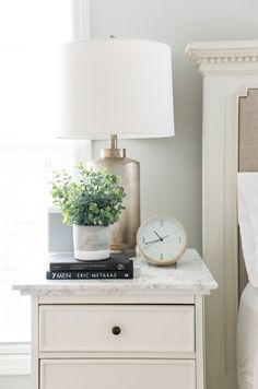 Simple Nightstand Decor By Sifted Style Jpg In 2020 Nightstand