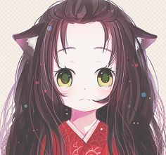Anime- Cute girl with cat ears