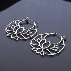 Lotus Flower Hoop Earrings silver Shanti Hoops by Zephyr9