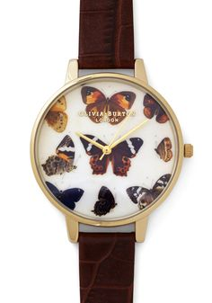 Fashion Takes Flight Watch. Your look soars to impressive new heights when you accessorize with this brown leather watch from Olivia Burton! #brown #modcloth