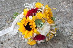 Wedding bouquet - buchet floarea soarelui - spice de grau (www.maya-flowers.blogspot.ro)