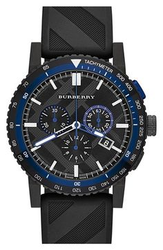 Free shipping and returns on Burberry Chronograph Rubber Strap Watch, 42mm at Nordstrom.com. A check-stamped chronograph dial rimmed in a tachymeter scale gives sports-minded function and style to a black IP watch sparked with boldly colored accents. The rubber strap, patterned in the same check as the dial, offers a comfortable and breathable fit.
