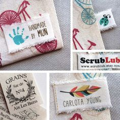 40 Custom Linen Canvas clothing label 1 by 2 Cotton by augiet