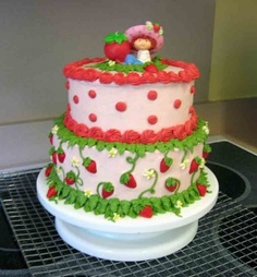 """cute cake but with the """"new"""" Strawberry character on top Themed Birthday Cakes, Birthday Cake Girls, Themed Cakes, 5th Birthday, Birthday Ideas, Strawberry Shortcake Birthday Cake, Strawberry Shortcake Characters, Cupcakes, Cupcake Cakes"""