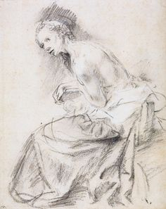 Rembrandt van Rijn (1606 - 1669) -  A Seated Female Nude as Susanna - circa 1647