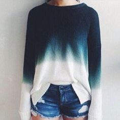 O Neck Blue White Fashion Pullover Sweater - Shops Hive