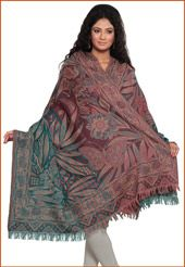Turquoise Blue and Onion Pink Pure Woolen Shawl