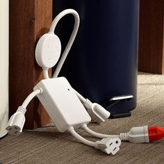 The Electro Man is an awesome solution for the limited number of outlets in the dorm room! With a tv, fridge, computer, and numerous electronic accessories, the Electro Man is a must-have! Dorm Accessories, Desktop Accessories, Teen Bedding, Teen Bedroom, Bedroom Ideas, Dorm Life, College Life, College Dorms, Dorm Organization