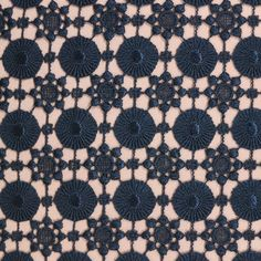 Navy Circled Medallion Guipure Lace