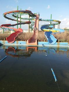 Abandoned water park slides in northern Israel