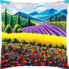 """Needlepoint/ Tapestry C ushion Kit, Tent Stitch Pillow Kit """" Provence """", Embroidery Pillow Cover K it size cm), Printed Canvas Zweigart. You can also buy backing fabric to create a complete pillow cover. Pillow Embroidery, Simple Embroidery, Cross Stitch Embroidery, Cross Stitch Patterns, Embroidery Patterns, Cross Stitch Beginner, Tent Stitch, Cross Stitch Cushion, Diy Pillow Covers"""