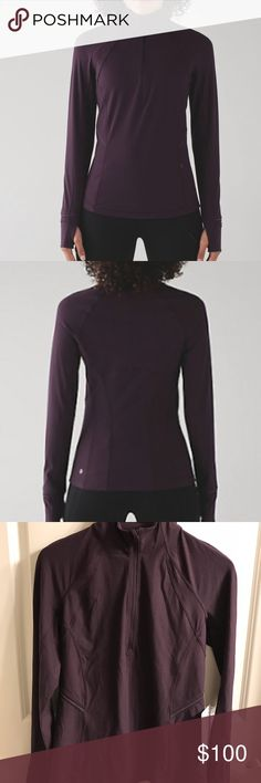 "NWT Women's Lululemon Fresh Tracks 1/2 Zip, Sz 8 NWT Women's Lululemon Fresh Tracks 1/2 Zip, in Black Cherry, Sz 8. Sweat-wicking Tech Fleece fabric; 4-way stretch; added Lycra; zippered pocket; thumbholes & Cuffins to keep hands warm; reflective details; zipper garage. Slim fit; hip length. Measures approximately 25"" long; 17"" across chest; sleeves are 26"" long. Retail $118. This color is sold out! Price firm here! lululemon athletica Tops"