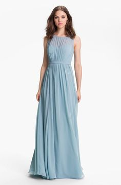 Jenny Yoo 'Vivienne' Pleated Chiffon Gown - see more on http://themerrybride.org/2014/05/01/powder-blue-and-grey-wedding/