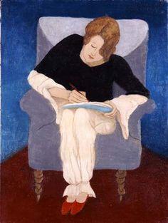 Dame im Sessel, schreibend   Gabriele Münter