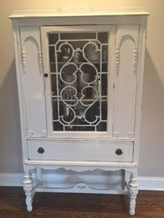 vintage painted china cabinet, shabby chic hutch, distressed storage dining room