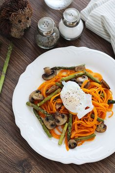 Roasted Asparagus & Mushroom Butternut Squash Noodles with Poached Egg