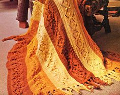 Afghan Knitting Pattern Cable Knit Afghan or by VintageNeedleArts