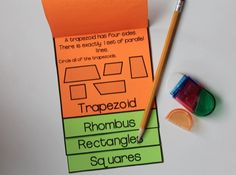 Quadrilateral Flipbooks - perfect for teaching geometry in or grade math Math For Kids, Fun Math, Math Games, Math 2, Teaching Geometry, Teaching Math, Teaching Measurement, Teaching Tips, Math Lesson Plans