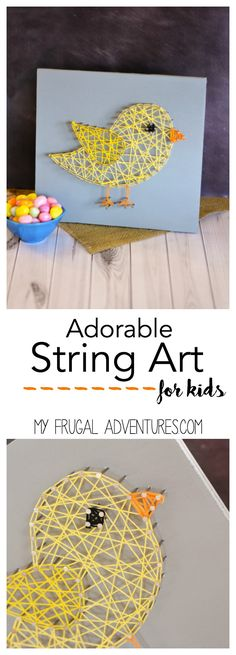 Adorable and simple String Art for kids.  Perfect for Spring, this Chick String Art is surprisingly simple to make yourself at home.