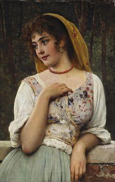 Eugene de Blaas - a pensive beauty - by Artecultura, via Flickr