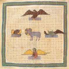 Carmina figurata by Abbot Hrabanus Maurus of Fulda of the symbols of the Evangelists with the Lamb in the middle. Central or Southern France; Make Pictures, 11th Century, Word Games, Medieval, Vintage World Maps, Zodiac, Poems, Miniatures, Kids Rugs