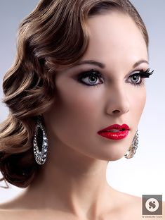 love finger waves :) makeup by maile love except want long hair curled on side