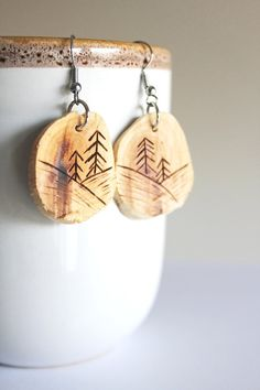 Carved Wood #Earrings  Tree Branch Earrings Each earring is handmade and the design has been wood burned. BessiesCreations, $20.00