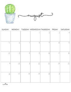 Cute August 2018 Calendar Template Calendars Calendar 2018