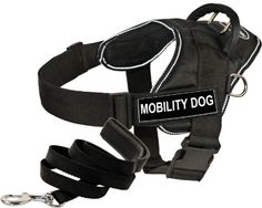 Dean and Tyler Bundle  One DT Fun Works Harness Mobility Dog Reflective Medium  One Padded Puppy Leash 6 FT Stainless Steel Snap  Black >>> Click image for more details.