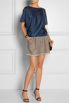 Lanvin|Draped stretch-silk satin top|Lanvin | Cotton-blend tweed shorts | Alexander Wang | Antonia leather sandals | Fendi | Fendista mini leather shoulder bag |