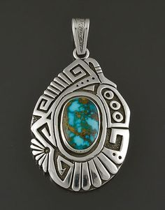 Silver  Turquoise Pendant by Sam Gray (Navajo)
