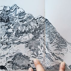 mountain simple drawings line landscape sketch illustrations easy ink drawing