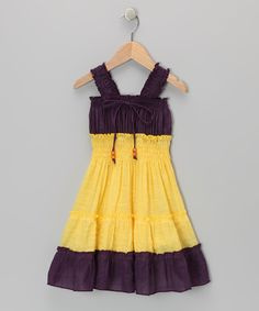 Lele for Kids Purple & Yellow Country Peasant Dress - Toddler & Girls   zulily