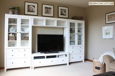 bedroom/living - ikea hemnes entertainment center for bedroom (incl tv unit at end of bed) Ikea Hemnes Living Room, Ikea Hemnes Tv Stand, Living Room Tv, Ikea Bedroom, Ikea Tv Unit, Tv Ikea, Ikea Wall, Pallet Entertainment Centers, Living Room Entertainment Center