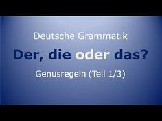 Deutsche Grammatik: Der, die oder das?   Männliche Substantive - Regeln, Kriterien, Ausnahmen, Beispiele