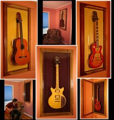 I think this could be some inspiration to help display guitars in a music room make a open faced frame.  humm It could be possible :)