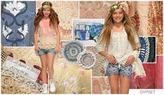 """GYPSET """"We all have a little gypsy in us"""" is the motto. Key items include flowing silhouettes like the high low skirt and boho blouse, while croche..."""