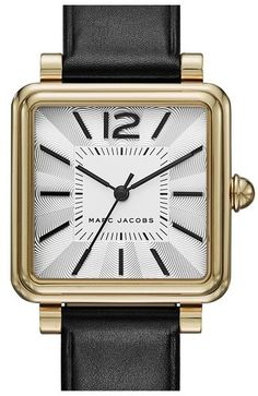 MARC JACOBS 'Vic' Leather Strap Watch, 30mm - $225.00