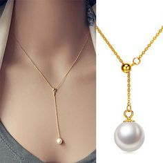 Elegant freshwater pearl necklace - Sterling silver -18k gold plated - $22