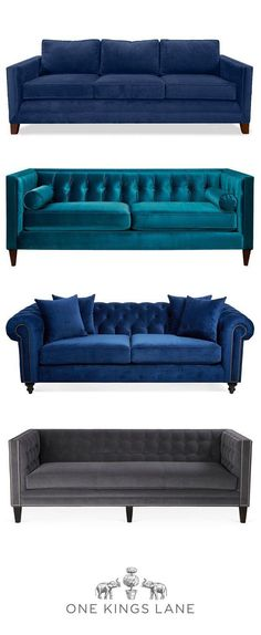Theres nothing more inviting than the soft hand and luxe look of a velvet sofa to anchor your living room. Whatever your style, find your perfect velvet sofa on One Kings Lane and make your living room a space you love. - A Interior Design Sofa Design, Interior Design, Home Interior, Interior Ideas, Living Room Sofa, Living Room Decor, Blue Velvet Sofa Living Room, Navy Blue Velvet Sofa, Living Rooms