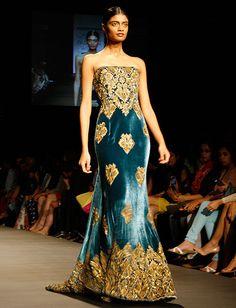 naeem khan lfw ss13 teal velvet gold dress