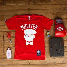 mightee red graphic tee, London #streetwear #london #americanapparel