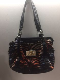 Kathy Van Zeeland Rainbow Multi Blue Orange Zebra Tiger Purse Bag tote  blemish   eBay 384031bf3ea5