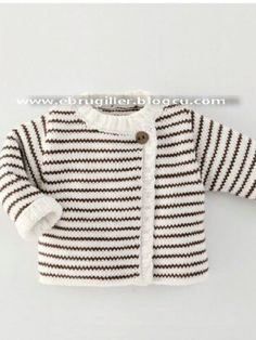 Baby Knitting Patterns Sweter Çeket [ 'Ide til Grete', 'Simple cardigan with stripes' ] # # Baby Knitting Patterns, Knitting For Kids, Crochet For Kids, Baby Patterns, Free Knitting, Knitting Projects, Crochet Baby, Knit Crochet, Baby Outfits