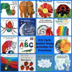 Eric Carle Theme and Author Study Activities for Preschool!You can find Author studies and more on our website.Eric Carle Theme and Author Study Activities for Preschool! Preschool Books, Preschool Themes, Book Activities, Preschool Activities, Books For Preschoolers, Eric Carle, Author Studies, Book Study, Early Literacy