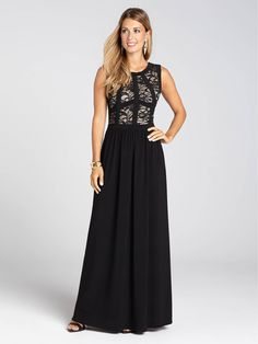 Laura | Trimmed Lace Top Gown - Black Pattern