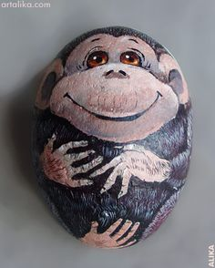 Painted Rock - monkey