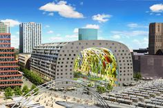 The Markthal is a residential and office building with a market hall underneath, located in Rotterdam. The building was opened on October by Queen Máxima of the Netherlands. Rotterdam Shopping, Corporate Storytelling, Under Construction, Viera, New Image, Deco, Picture Show, Netherlands, Amazing
