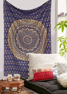 Labhanshi Original Gold And Blue Ombre Tapestry Mandala Hippie Tapestry, Hippie Wall Hanging Tapestries, Bohemian Tapestries, Twin Mandala Home Decor